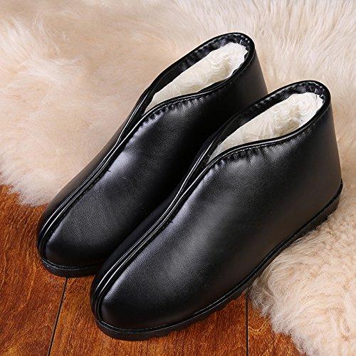 Cotone fankou pantofole pantofole inverno inverno cotone scarpe in pelle di radice del pacchetto anti-scivolo per donne e uomini anziani indoor scarpe caldo ,42, nero