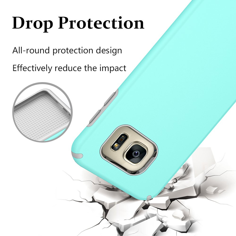 S7 Edge Case, Galaxy S7 Edge Case, MagicSky Slim Corner Protection Shock Absorption Hybrid Dual Layer Armor Defender Protective Case Cover for Samsung Galaxy S7 Edge (Cyan)