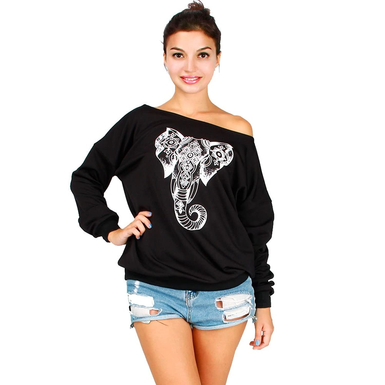 Adrinfly Women Off Shoulder Sweatshirt Digital Print Strapless Slouchy Fleece Pullover Top