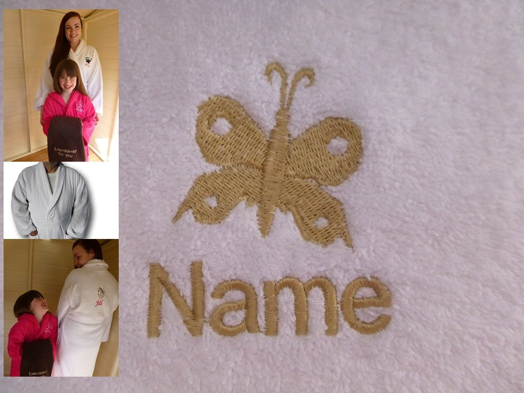 Adult Bath Robe with a BUTTERFLY 2 Logo and Name of your choice in White, Size Medium, Large, XLarge or XXLarge (XXLarge)
