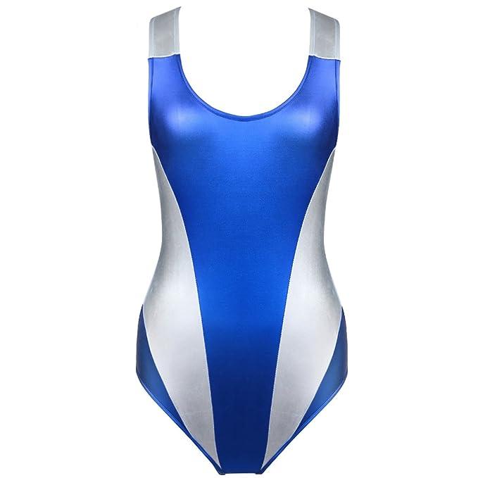 614f5c9f36efb iEFiEL Damen Hydrasuit Wetlook Metallic Badeanzug Bademode Schwimmanzug  Sportbody Body Bodysuit Schwimmenrücken (Blau, One Size): Amazon.de:  Bekleidung