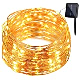 Cheap GDEALER Solar String Lights 8 Modes 100LED 33ft Copper Wire Lights Waterproof Starry Fairy String Lights Ambiance Lighting for Outdoor Landscape Patio Garden Christmas Wedding(warm white)(1)
