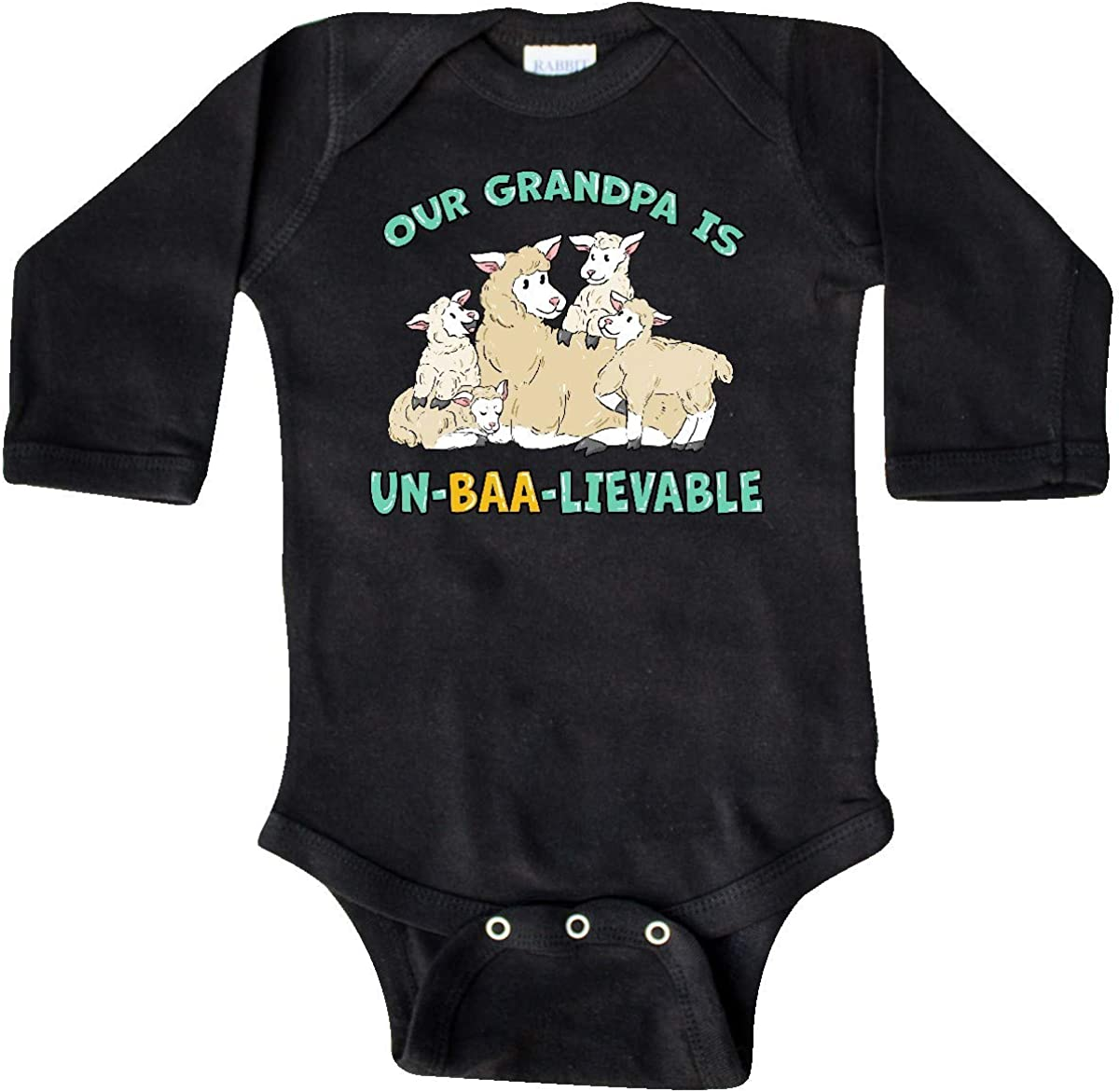 inktastic Our Grandpa is Un-BAA-lievable with Cute Sheep Long Sleeve Creeper