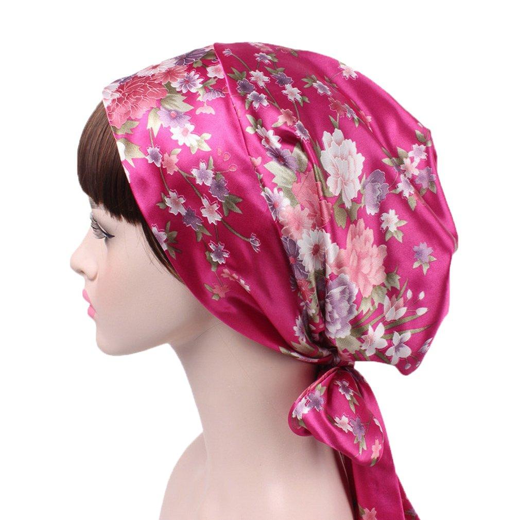 COMVIP Femme Turban Imprimé Tissu Satiné Papillon Nœud Coiffure Tresse Longue Bonnet Chimio Cancer COMVIP18327CY227