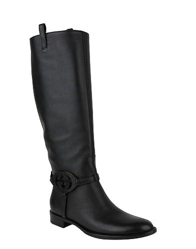 03039dd3452a6 Amazon.com | Gucci Black Interlocking G Leather Knee Boots 338541 ...