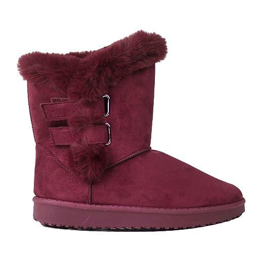 Primtex Bottes fourrées bordeaux type boots de neige  en suédine & fourr Bordeaux - Chaussures Bottes de neige