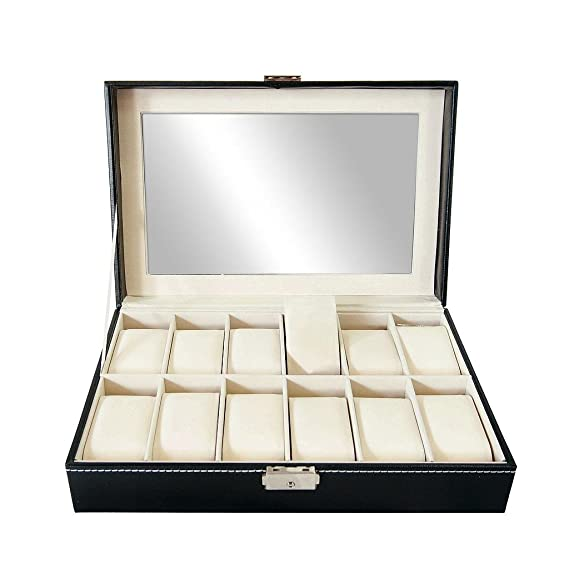 Todeco - Caja de Relojes, Caja de Almacenamiento de Relojes y Pulseras - Tamaño: 30 x 20 x 8 cm - Material de la caja: MDF - 12 relojes y pantalla, ...
