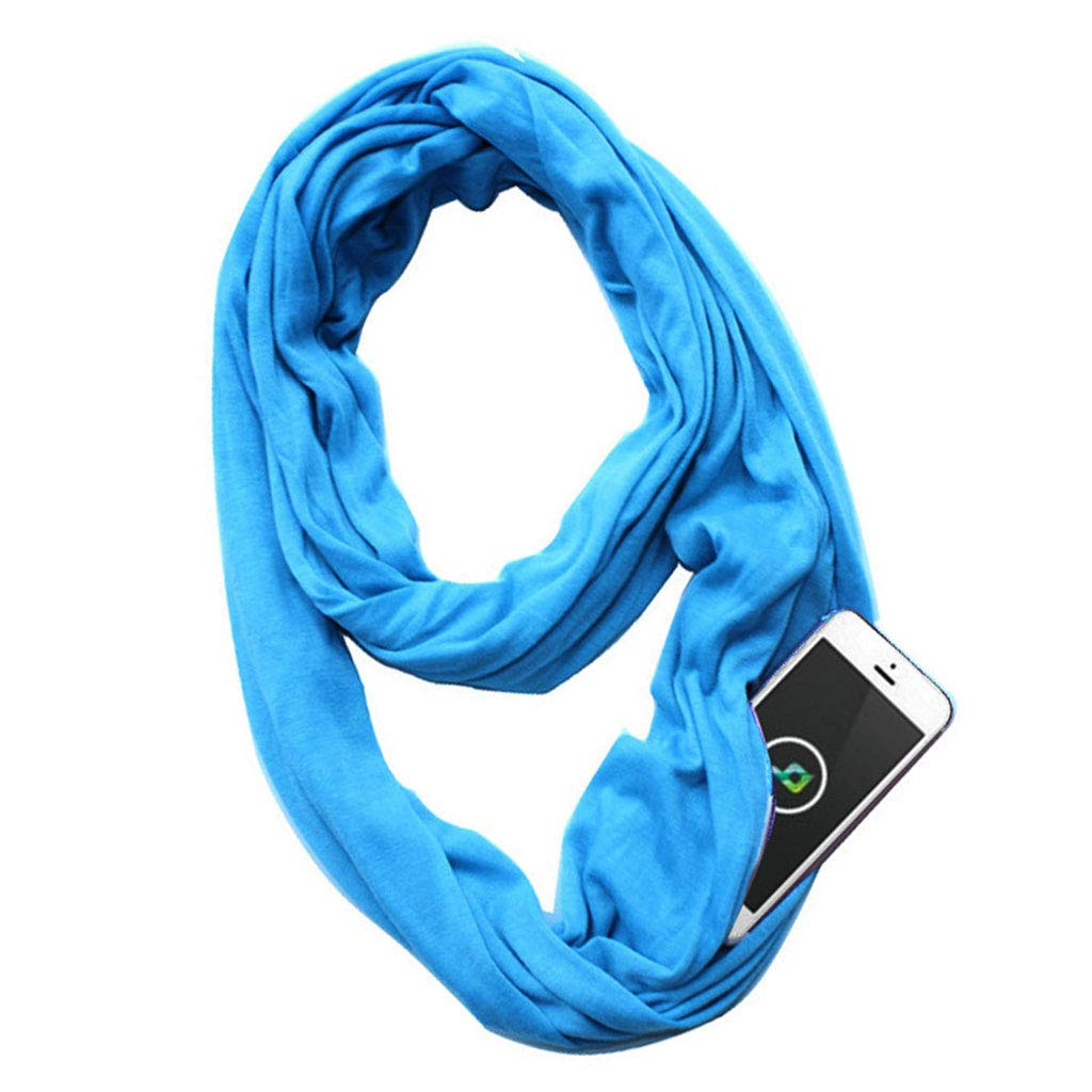 Thobu Womens 135-175cm 10 Colors Stretchy Infinity Loop Scarf with Hidden Zipper Pocket Polyester Winter Warm Solid Ring Blanket Wrap Shawl Hot Pink