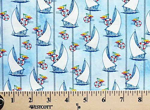 Nautical Quilting Fabric (Cotton Sailboats Boats Boating Sailing Racing Races Life Preservers Signal Flags Ropes Nautical Sea Ocean Water Regatta Blue Cotton Fabric Print by the Yard (3961-47754-seamist))