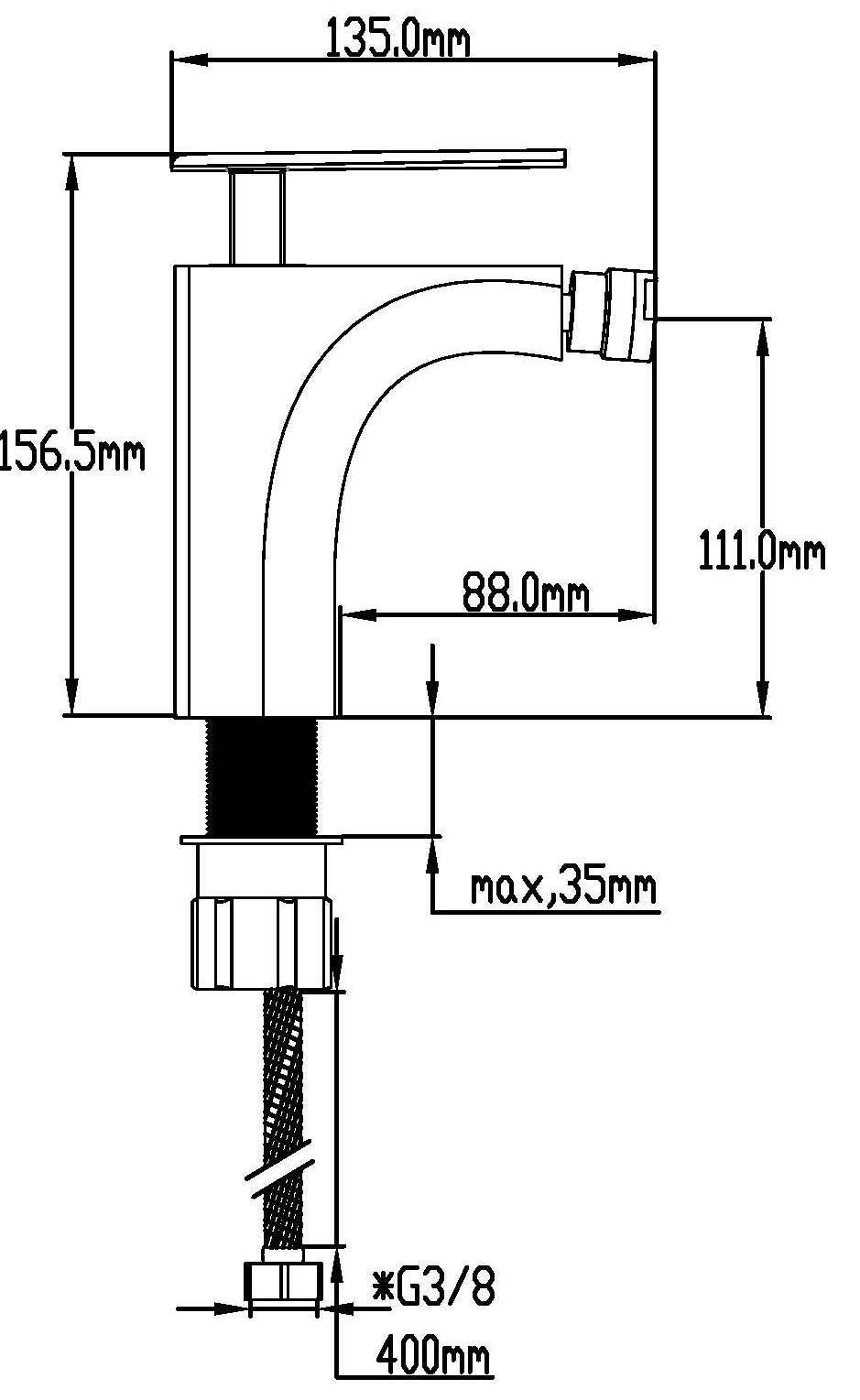 DP Bath SNO-0002''Nogal'' Bidet Mixer Tap - Chrome by DP Bath