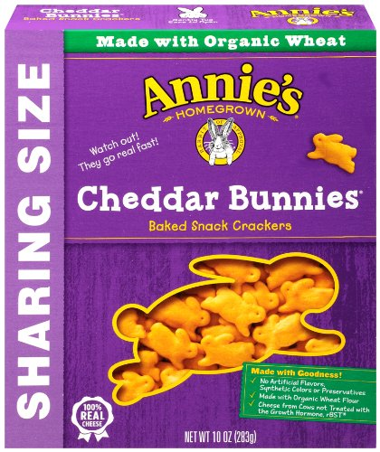 Annie's Homegrown Cheddar Bunnies Baked Snack Crackers, Original, 10-Ounce Boxes (Pack of 12)