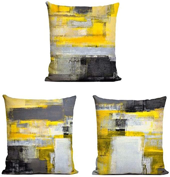 Amazon Com Decor Mi Just Pillowcases Modern Grey Yellow Abstract Throw Pillow Covers Linen Square Pillowcase Decorative Cushion Pillow Covers With Zipper Sofa Bedroom Living Room Home Decor 18x18 Inch Set Of 3