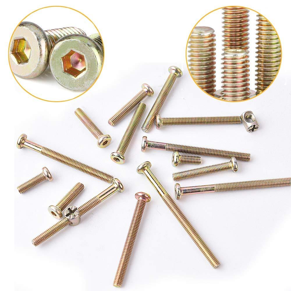 tuercas hexagonales para cabecero de cama 70 mm sillas y muebles Juego de tornillos de repuesto para cuna de beb/é 80 mm M6 x 40 mm 60 mm 50 mm