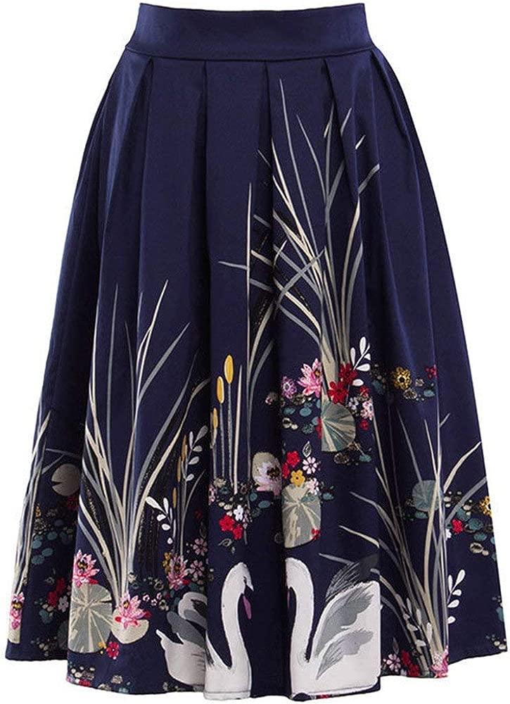 Faldas para Mujer Swan Rockabilly 1950S Swing Plate Falda Mode De ...