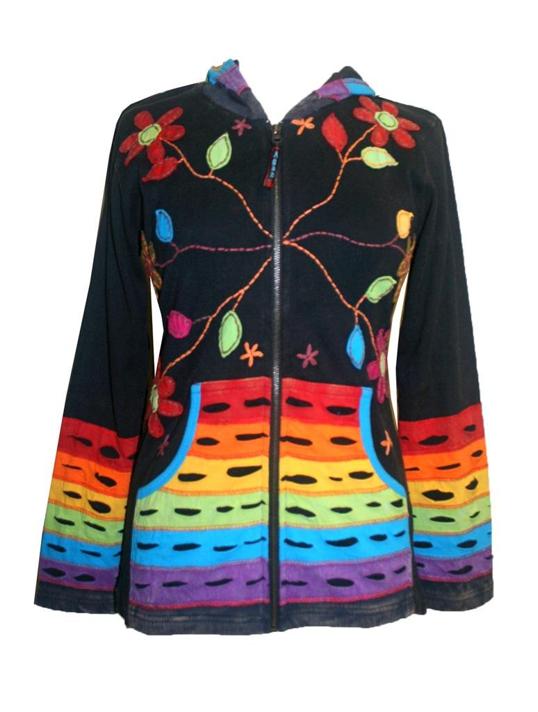 RJ 309-2 Rainbow Rib Cotton Bohemian Jacket (Multi, XL) by Agan Traders
