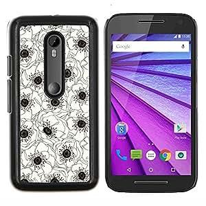 TECHCASE---Cubierta de la caja de protección para la piel dura ** Motorola MOTO G3 ( 3nd Generation ) ** --Blanco Negro Flor Dibujo Arte