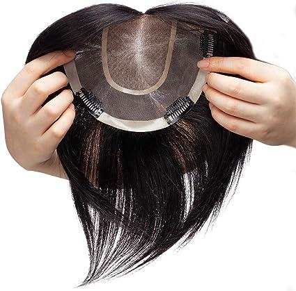 Extensiones de Cabello Natural Clip Prótesis Capilar Mujer Gruesa Ampliar el Volumen en La Coronilla 100% Remy Flequillo Postizo Pelo Humano 6