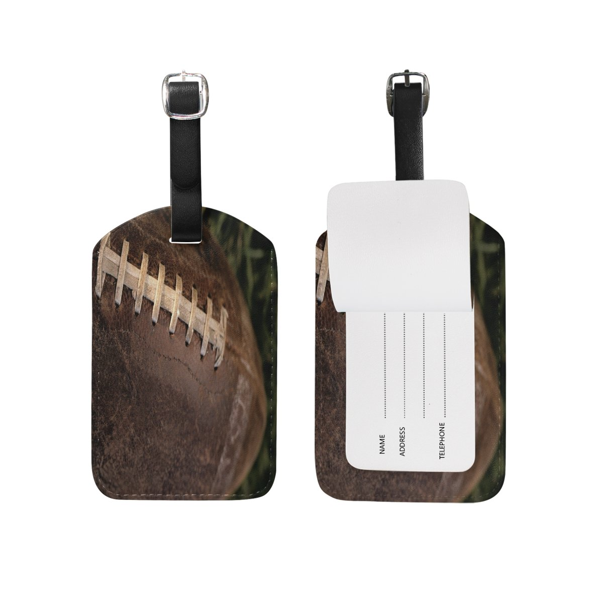 Brown Rugby Leather Travel Tour Luggage Handbag Tags Card Labels (2pcs)
