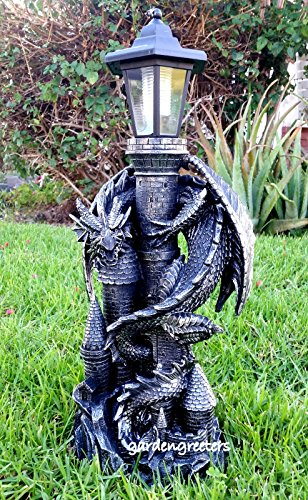 - Dragon with Solar Light Statue Solar Dragon Lantern Figurine-f