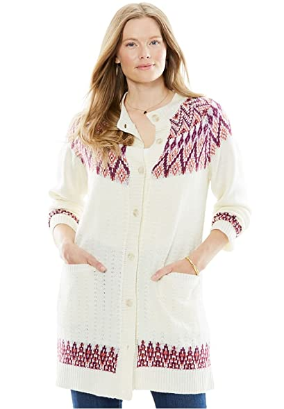 Woman Within Women's Plus Size Fair Isle Pointelle Cardigan at ...