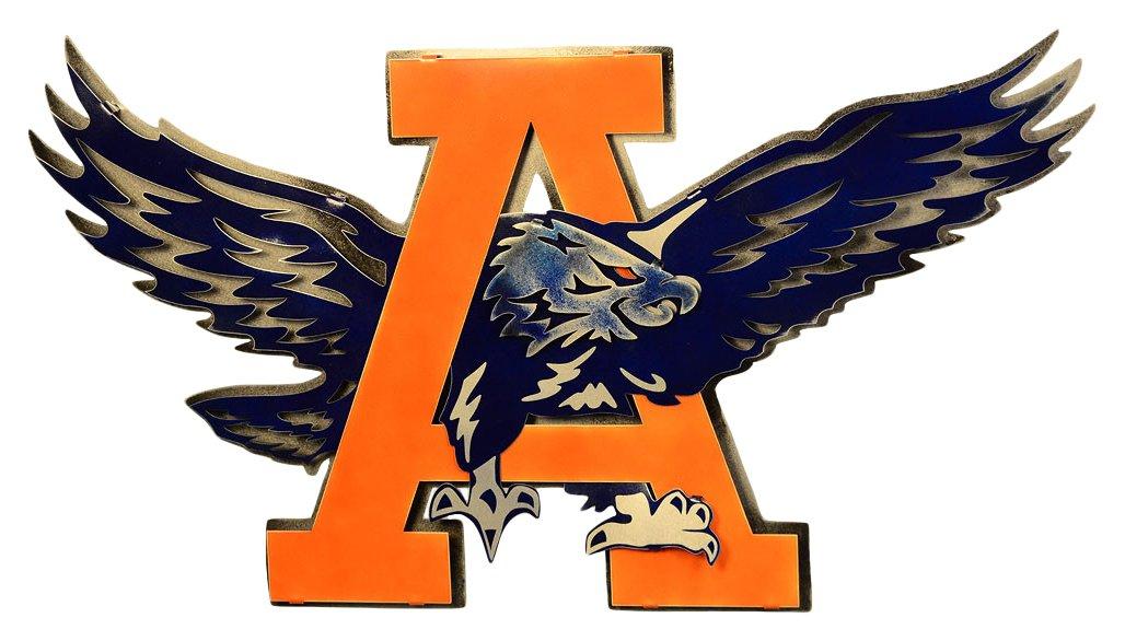 Gear New Auburn University War Eagle 3D Vintage Metal College Man Cave Art, Large, Blue/Orange