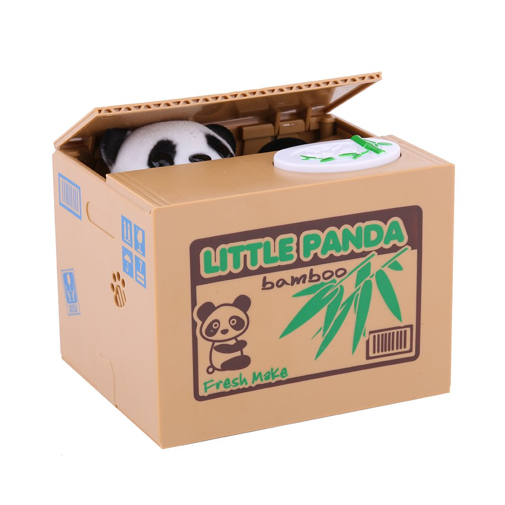 Hztyyier Panda Coin Bank Kids Piggy Bank Stealing Coin Cute Panda Penny Cent Box Autom/ático Grain Grabing Eating Money Bank Saving Box para ni/ños peque/ños