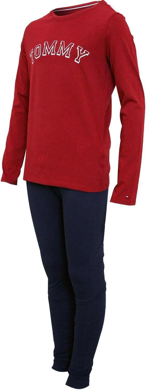 TOMMY HILFIGER Filles Logo Pyjama /à Manches Longues Ensemble Rhubarbe//Blazer Marine