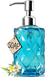 JASAI Diamond Design Soap Dispenser with 304 Rust Proof Stainless Steel Soap Pump, 12 Ounce Kitchen Soap Dispenser for Bathroom, Hand Soap, Dish Soap (Clear Blue)