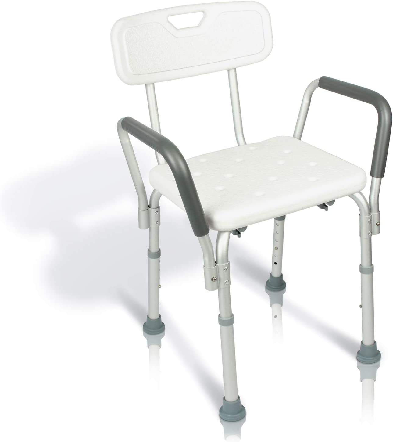 Vive Shower Chair with Back - Handicap Bathtub Bench with Padded Armrest  for Disabled, Seniors, Elderly - Adjustable Medical Bath Stool Spa Seat  with