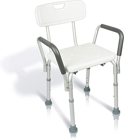 Vive Shower Chair With Back Handicap Bathtub Bench With Padded Armrest For Disabled Seniors Elderly Adjustable Medical Bath Stool Spa Seat With Handle Pads For Bariatrics Non Slip