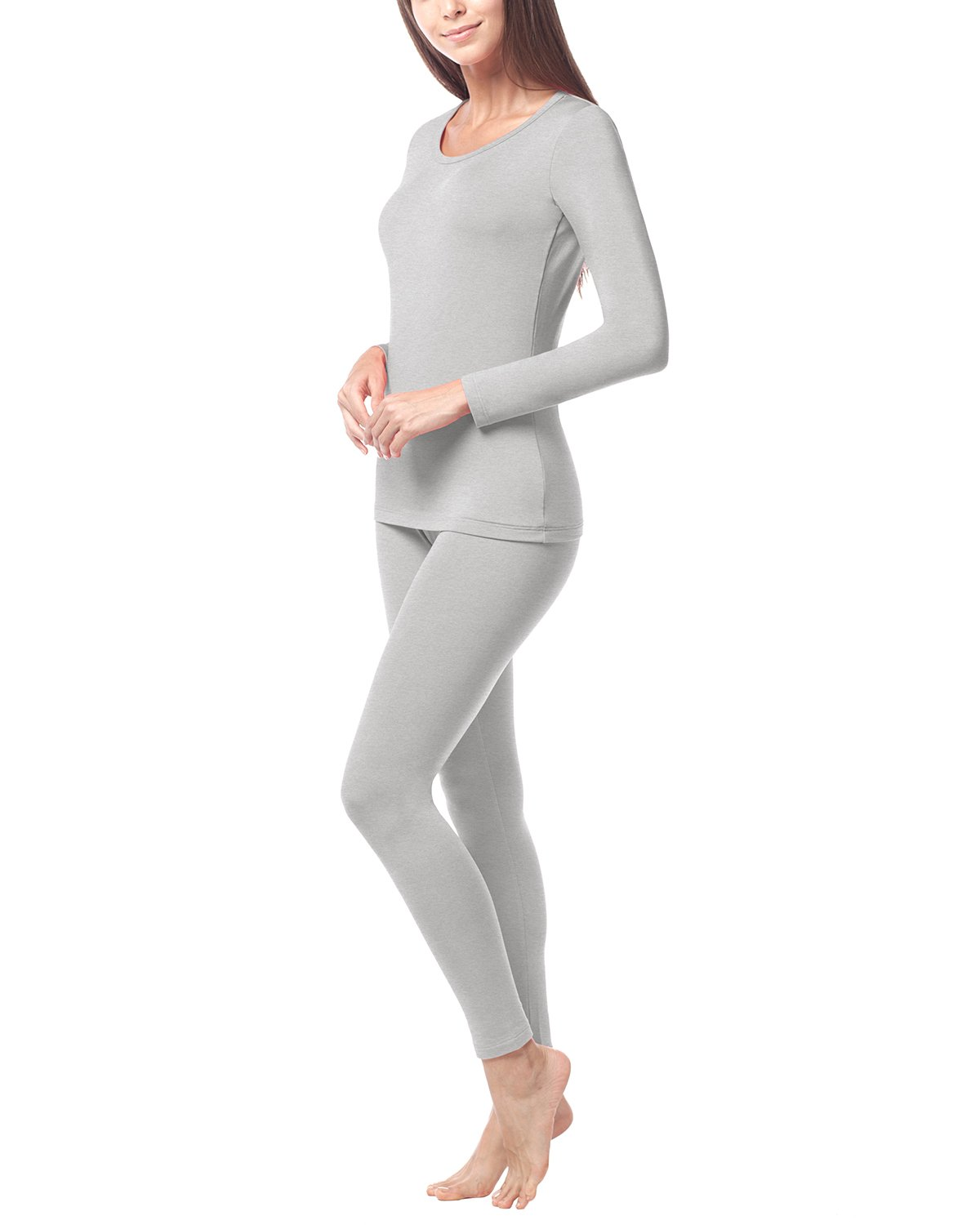 LAPASA Women's Lightweight Thermal Underwear Long John Set Fleece Lined Base Layer Top and Bottom L17 (Medium, Gray)