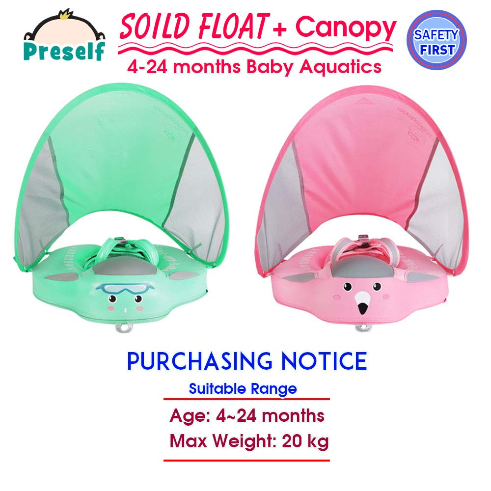 PRESELF Baby Solid Float with Canopy Safety Aquatics Floating Ring Fit Infant Toddler Swimming Pool Swim School Training (Green) by PRESELF (Image #2)