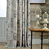 Anady Top Classic Pattern Curtains Drapes Linen Cotton 2 Panel Curtains for Living Room Grommet 84 inch Long(Customized Available)