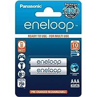 Panasonic eneloop, NiMH-accu gereed voor gebruik, AAA micro, verpakking van 2, 750 mAh, 2100 laadcycli, met hoog…