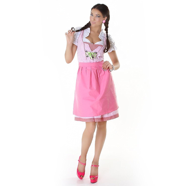 Komplettes Oktoberfest Set: Dirndl, Bluse, karierte Schürze + 1x Uni-Schürze GRATIS (Gr. 44, rosa-grün)