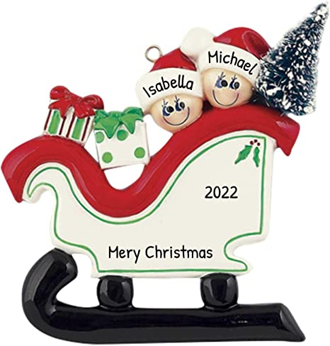 Amazon Com Personalized Santa Sleigh Family Of 2 Christmas Tree Ornament 2020 Festive Cute Couple Children Slide Downhill Winter North Pole Sled Friend Gift Year Snow Tradition Toboggan Free Customization Home Kitchen