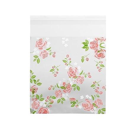 Zerodis 100 bolsas de plástico para dulces de boda, diseño de flores, para cumpleaños, galletas y dulces, Rose 10*10CM