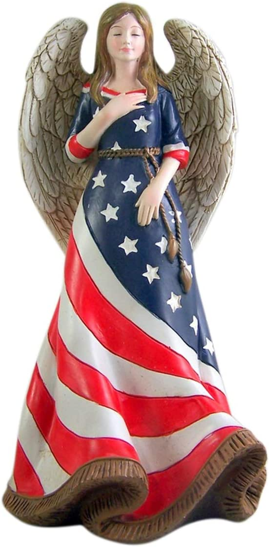 Religious Angel in American Flag Statue 9 1/2 Inch