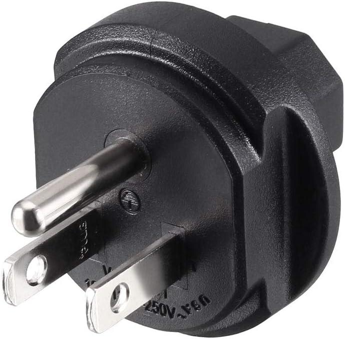 uxcell IEC320 C13 to Male US NEMA 5-15R Plug AC Power Adapter Converter Black 2 Pcs