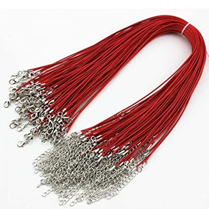b77f48912 Image Unavailable. Image not available for. Color: ORYOUGO 50PCS Red  Imitation Leather Cord Necklace Cord Bulk with Lobster Clasp ...