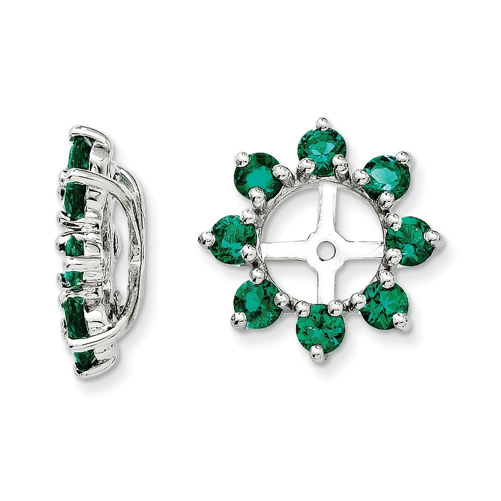 925 Sterling Silver Rhodium Created Emerald Earring Jacket