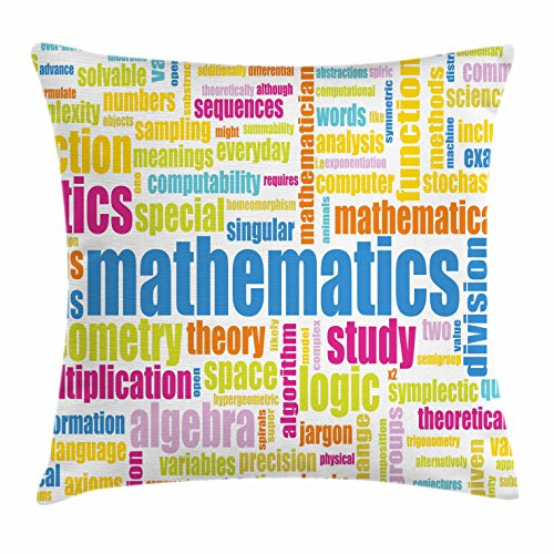 """Ambesonne Mathematics Classroom Throw Pillow Cushion Cover, Math Related Different Words Conceptual Terminology Group Print, Decorative Square Accent Pillow Case, 20"""" X 20"""", Yellow Blue"""