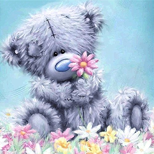 DIY 5D Diamond Painting by Number Kits, Crystal Rhinestone Diamond Embroidery Paintings Pictures Arts Craft for Home Wall Decor, Gray Patch Bear ()