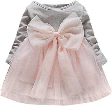 Baby Girls Dress Casual Long Sleeve Solid Tutu O-Neck Princess Toddler Kid Dress