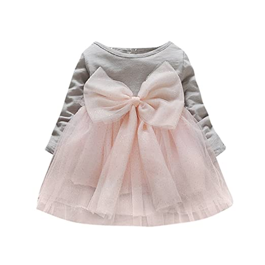 ChainSee Baby Girls Bowknot Long Sleeve Kid Lace Splice Tutu Dress Clothes (3 years old