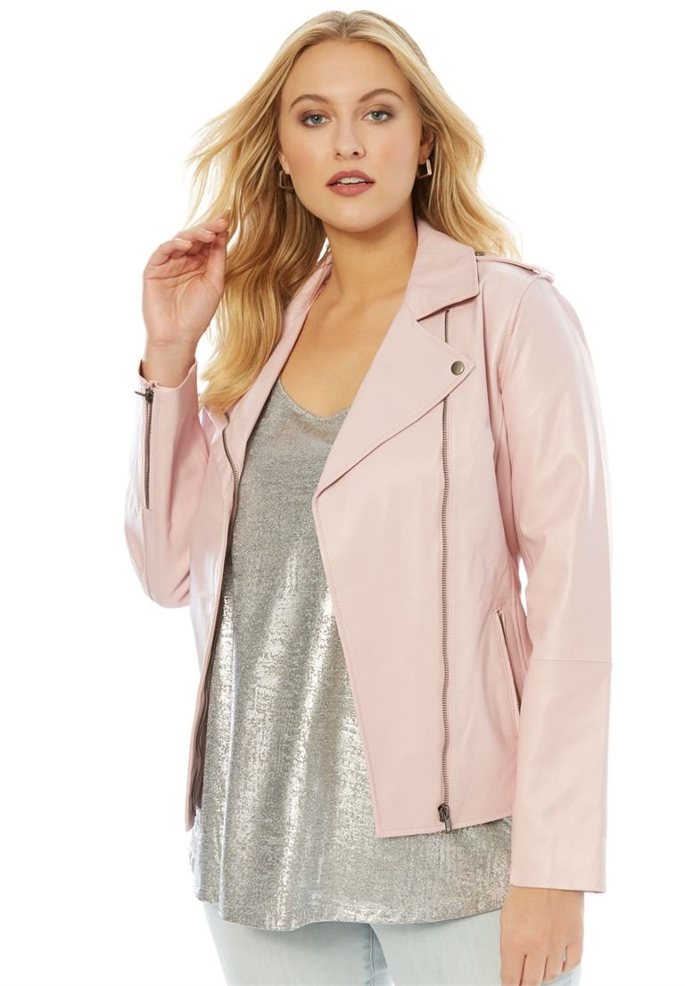Roamans Women's Plus Size Leather Motorcycle Jacket Misty Rose,24 W