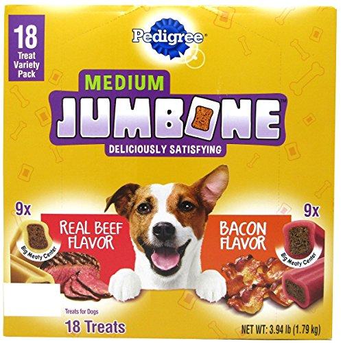 Meaty Center (Pedigree Jumbone Dog Treat (18 ct.) Medium Jumbone, Dog Treat Variety Pack, 9 Real Beef 9 Bacon Flavor, Medium Jumbone, Big Meaty Center , Treats for Dog,