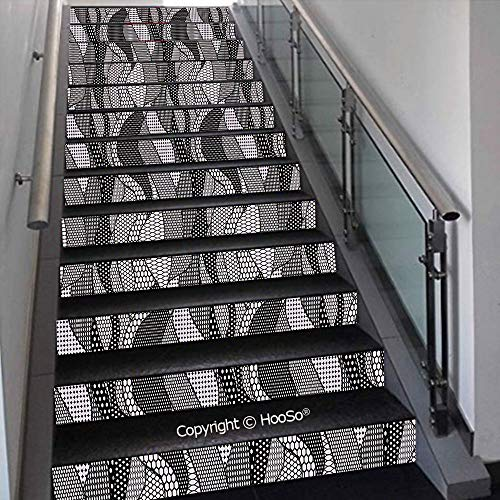 PUTIEN Self-Adhesive Stair Risers Stickers Vinyl Staircase Stickers Stairway Decal Wallpaper, Waterproof, Anti-Stain,Painted Wood Texture Penal Horizontal Lines Birthdays Easter,39.3