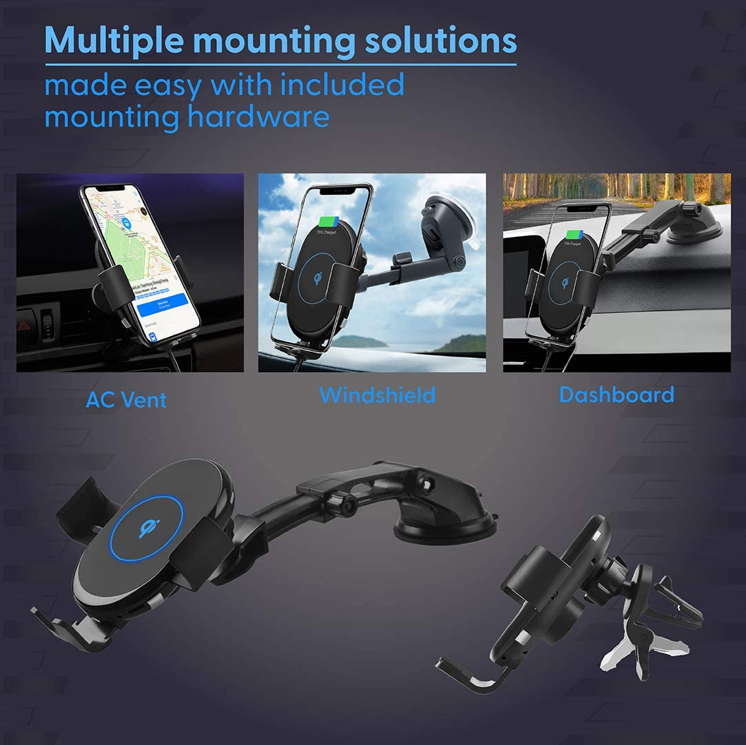 Tovo Wireless Car Mount Charger Suction Cup for Windshield Juice Up Phone Charger Fast Charging Auto-Clamping Qi-Equipped with AC Adapter Air Vent