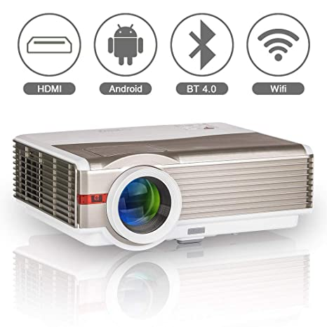 Bluetooth Wireless LCD Projector WXGA Android Wifi 5000 Lumen Multimedia Smart HD LED Home Theater Video Projector Support 1080P HDMI USB VGA AV for ...